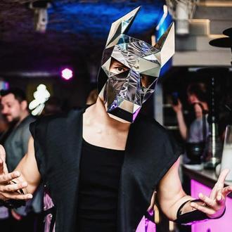 Зеркальная полигональная маска добермана, волка, собаки на всю голову из пластика