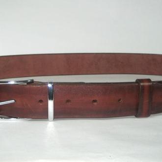 005 M R38 Мужской кожаный ремень  красный (mens leather belt red) 38 мм с эффектом состаренности