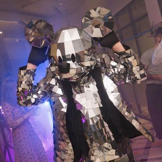 Зеркальная полигональная маска Микки, Минни Маус на всю голову из пластика