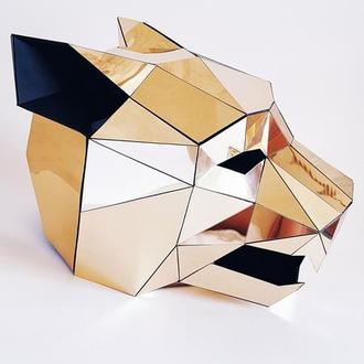 Зеркальная полигональная маска ягуара, тигра, кота, кошки на всю голову из пластика