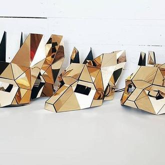 Зеркальная полигональная маска зайца, лисы, кота на резинке из пластика
