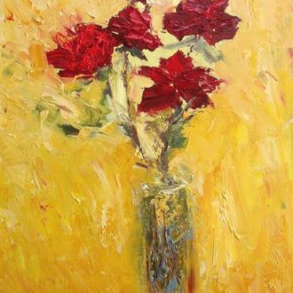 """Авторская картина маслом """"Красные розы на желтом"""". 40х30. В раме."""
