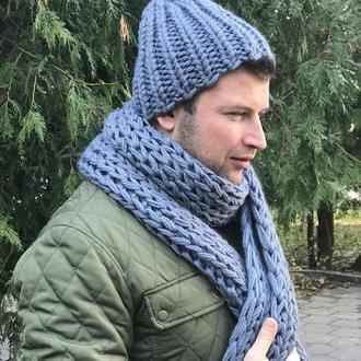 Шерстяная шапка серо-дымчатого цвета