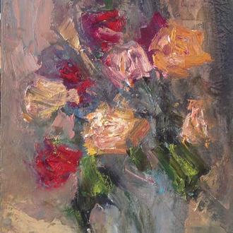 """Авторская картина маслом """"Осенние розы"""". 28х19. В раме."""