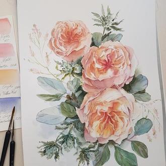 """Картина акварелью, ботаническая иллюстрация """"Роза"""""""