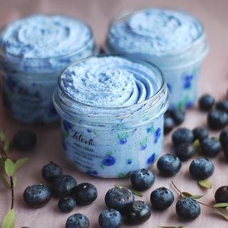 "Мыло - скраб ""Pie with blueberries and pear"" с голубой матчей"