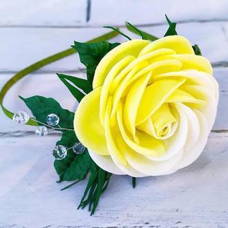 Обруч с необычной розой