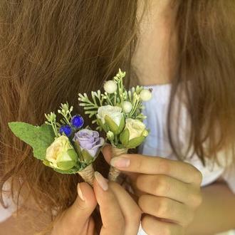 Свадебная бутоньерка с цветами,бутоньерка для невесты и жениха,бутоньерка брошка с цветами