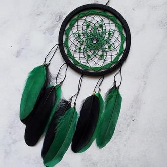 Черно зелёный ловец снов. Чорно зелений ловець снів. Амулет. Декор для дома. Подарок.