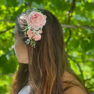 Гребешок с цветами,свадебное украшение для волос с кремовыми розами,красивая заколка с цветами