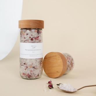 Натуральная розовая соль с розой