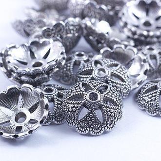 Шапочка обниматель для бусин Цветок Античное Серебро 20х7мм ОБ0016