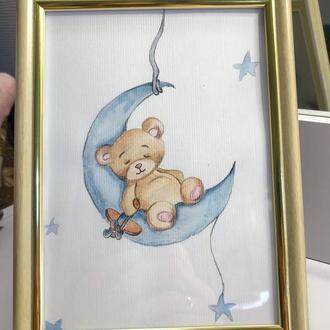 Акварельная иллюстрация для декора детской комнаты.