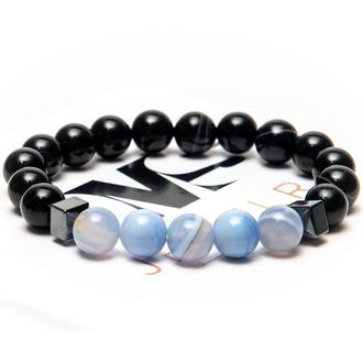 Браслет DMS Jewelry з агата, гематиту POWER OF AGATE BLUE AND BLACK