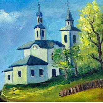 Старая церквушка, картина, живопись,размер 20х30см