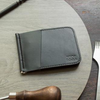 Кожаный кошелек зажим (Чёрный)
