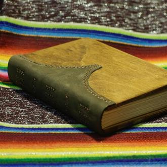 Блокнот с деревянной обложкой и натуральной кожей формата А5