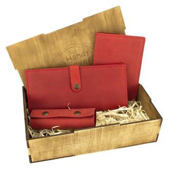 Подарунковий набір жіночий Handycover №45 (червоний) гаманець, обкладинка, ключниця в коробці
