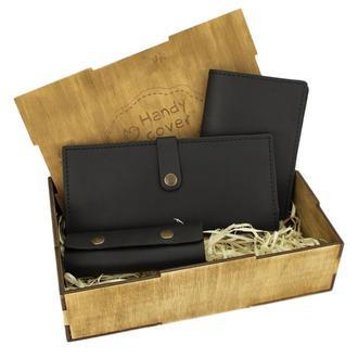 Подарунковий набір жіночий Handycover №45 (чорний) гаманець, обкладинка, ключниця в коробці