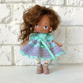 Даша Авторська лялька з обличчям Текстильна лялечка шатенка