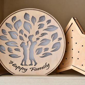 Ночник из дерева - Happy Family (дерево)