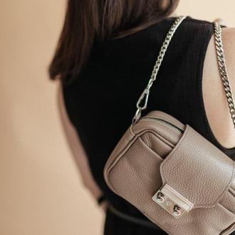 Кожаная сумка с цепочкой, кофейная кроссбоди из натуральной кожи
