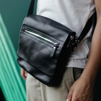 Сумка через плечо из гладкой кожи на 2 отделения, мужская кожаная сумка, мужская барсетка
