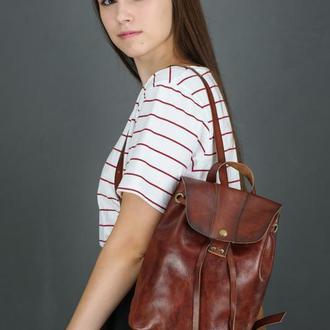 """Женский кожаный рюкзак """"Прага"""", кожа итальянский краст, цвет вишня"""
