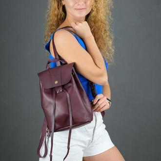 """Женский кожаный рюкзак """"Прага"""", кожа итальянский краст, цвет бордо"""