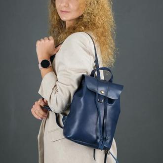 """Женский кожаный рюкзак """"Прага"""", кожа итальянский краст, цвет синий"""