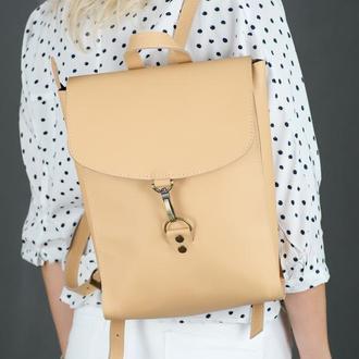 """Женский кожаный рюкзак """"Венеция"""", размер средний, кожа Grand, цвет бежевый"""