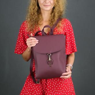"""Женский кожаный рюкзак """"Венеция"""", размер средний, кожа Grand, цвет бордо"""