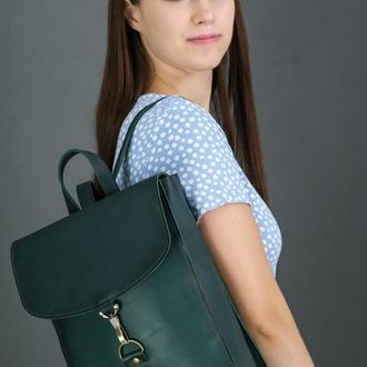 """Женский кожаный рюкзак """"Венеция"""", размер средний, кожа итальянский краст, цвет зеленый"""