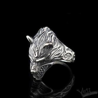 """Перстень чоловічий зі срібла вовк """"Angry Wolf"""""""
