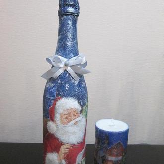 Новогодний набор: шампанское + свеча, оформлены в технике декупаж