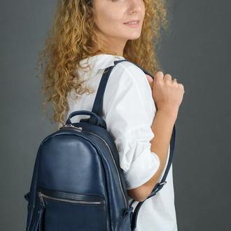 """Женский кожаный рюкзак """"Лимбо"""", размер мини, кожа итальянский краст, цвет синий"""