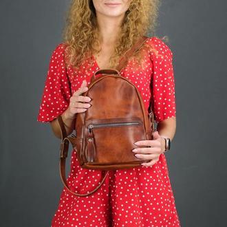 """Женский кожаный рюкзак """"Лимбо"""", размер мини, кожа итальянский краст, цвет вишня"""