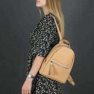 """Женский кожаный рюкзак """"Лимбо"""", размер мини, матовая кожа Grand, цвет бежевый"""