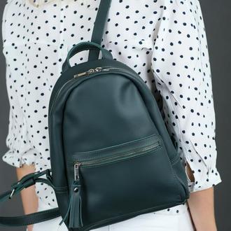 """Женский кожаный рюкзак """"Лимбо"""", размер мини, матовая кожа Grand, цвет зеленый"""