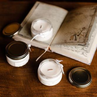Набір соєвих свічок з дерев'яним гнітом і ефірними маслами ручної роботи 3х100 мл