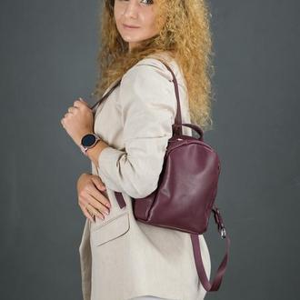 """Женский кожаный рюкзак """"Колибри"""", кожа итальянский краст, цвет бордо"""