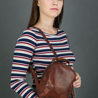 """Женский кожаный рюкзак """"Колибри"""", кожа итальянский краст, цвет вишня"""
