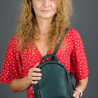 """Женский кожаный рюкзак """"Колибри"""", кожа итальянский краст, цвет зеленый"""