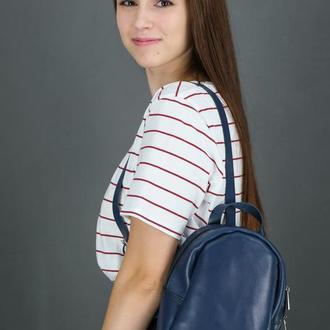 """Женский кожаный рюкзак """"Колибри"""", кожа итальянский краст, цвет синий"""