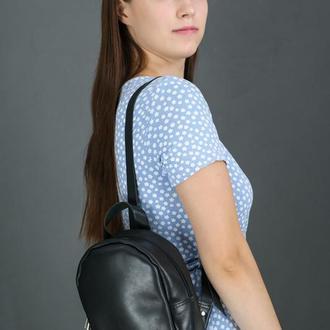 """Женский кожаный рюкзак """"Колибри"""", кожа итальянский краст, цвет черный"""