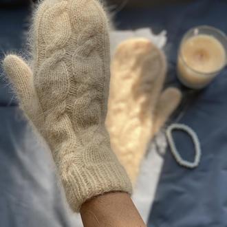 Вязаные Варежки из пряжи пух норки, Пушистые Рукавички с косами