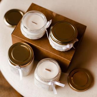 Набір соєвих свічок з дерев'яним гнітом і ефірними маслами ручної роботи 2х210 мл і 2х100 мл