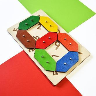 Геоборд кольоровий з цифрами 26 х 16см. Розвиваюча дошка для вивчення цифр. Дерев'яні цифри.