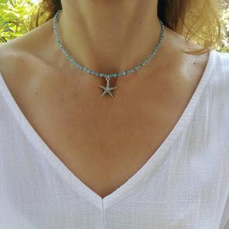Чокер из Аквамарина с подвеской Морская Звезда - Маленькое Ожерелье Душа Моря
