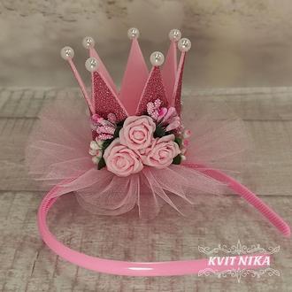 Розовая корона с цветами из фоамирана на день рождения, утренник или фотосессию